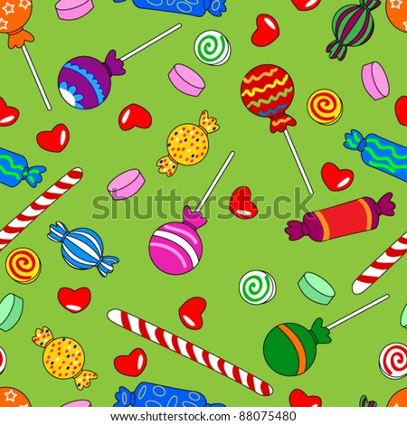 EPS 10: Fun seamless pattern made of all kinds of colorful candy including lollipops.