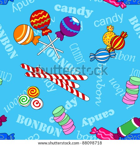 EPS 10: Fun seamless pattern made of all kinds of colorful candy including lollipops over blue background with candy and bonbon text. - stock vector