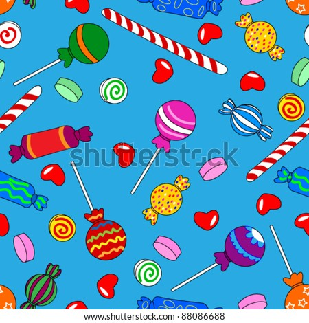 EPS 10: Fun seamless pattern made of all kinds of colorful candy including lollipops over bright blue background - stock vector