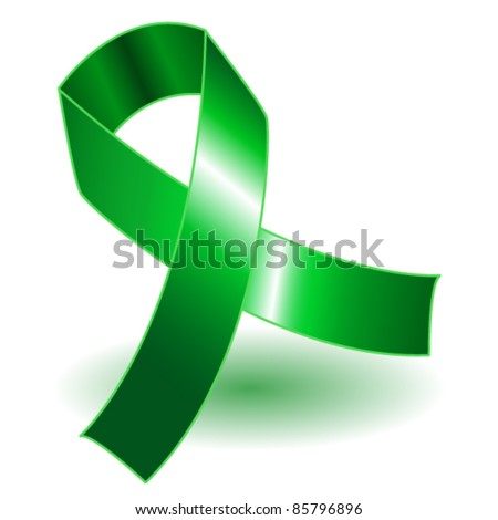 EPS 10: Green awareness ribbon over a white background with drop shadow, simple and effective. - stock vector