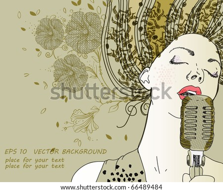 eps10 hand drawn girl singing a song on a floral background - stock vector