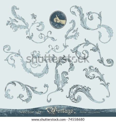 EPS 10, Hand-drawn ornate swirls vector set for decoration and design - stock vector