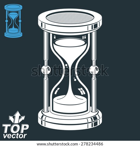 Eps8 highly detailed vector sand-glass. Antique classic 3d hourglass with pour sand isolated on dark background. Time is running out conceptual icon, invert version included. Web design element. - stock vector