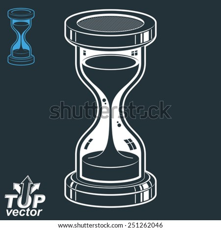 Eps8 highly detailed vector sand-glass illustration. Antique classic hourglass. Retro clock silhouette isolated on dark background. Time without end conceptual icon, invert version included. - stock vector