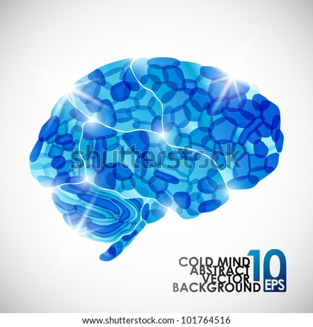 eps10, human brain, cold mind, vector abstract background - stock vector
