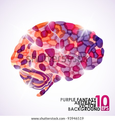 eps10, human brain, purple fantasy, vector abstract background - stock vector