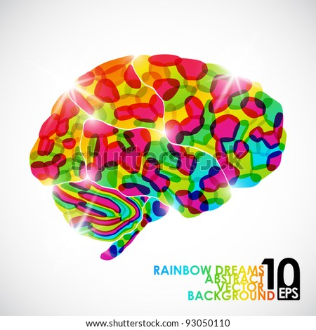 eps10, human brain, rainbow dream, vector abstract background - stock vector