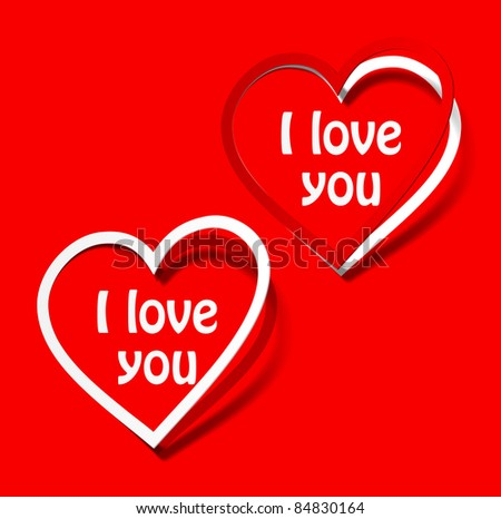 eps10, I love you heart sticker red scarlet realistic shadow symbol sign object paper emotion
