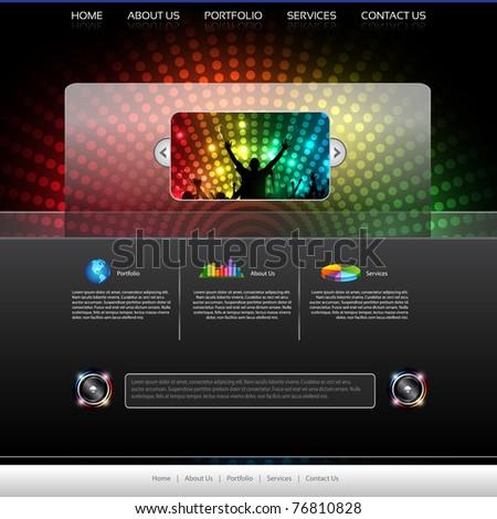 EPS10 Music Website Template - Vector Design - stock vector