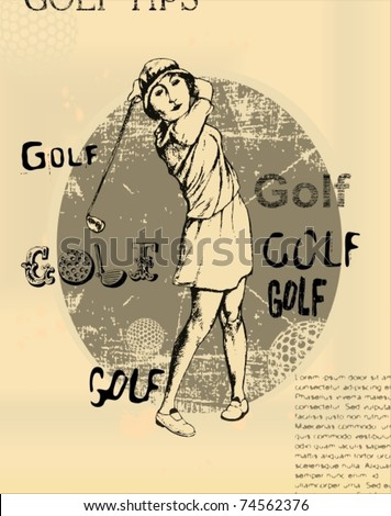 EPS 10, Old newspaper with an illustration of golfing young woman - stock vector