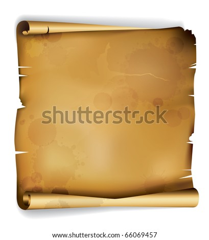EPS10: Old roll of ragged parchment with stains from centuries - stock vector