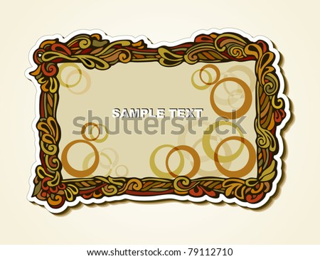 EPS 10, Original frame in retro style with floral elements for design and decoration (elegant sticker) - stock vector