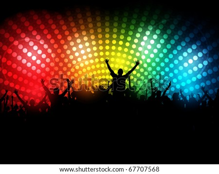 EPS10 Party People Vector Background - Dancing Young People - stock vector