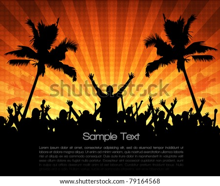 EPS10 Party People Vector Background - Dancing Young People at Summer - stock vector