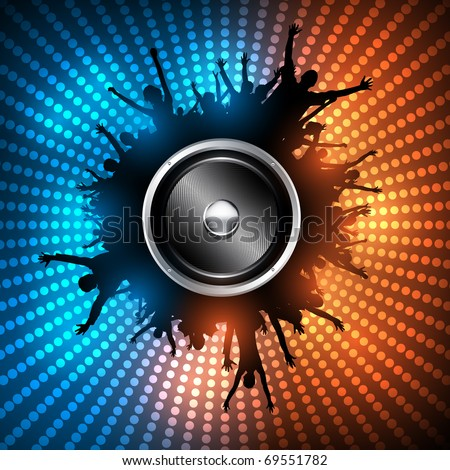 EPS10 Party People with Audio Speaker Vector Background - Dancing Young People - stock vector