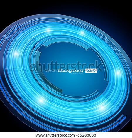 EPS10 Perspective Abstract Retro Technology Circles Vector Background - stock vector