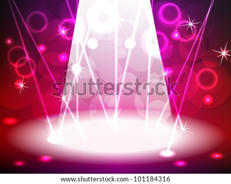 EPS 10: Pink and red lit stage for music, rock concert, dance or other event with a bright lights, lasers, bokeh and other neon effects, can be used for product advertising. - stock vector