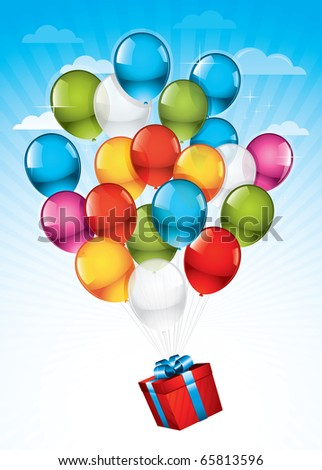 EPS10: Red gift box carried towards the sky by colorful balloons - stock vector