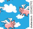 """EPS 10: Seamless cute and fun lying pig cartoon characters with wings to represent the """"when pigs fly"""" saying, great kid wallpaper or fabric. - stock vector"""