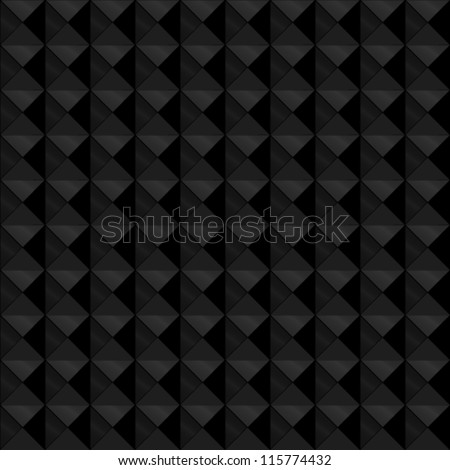 EPS 10: Seamless pattern made of relief or embossed geometric triangles in square formation, with the black and dark grey tones with metallic shine, giving it depth. - stock vector