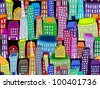 EPS 10: Seamless pattern of colorful crooked cartoon buildings on black background, fun cityscape wallpaper or background. - stock vector