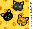 EPS 10: Seamless pattern of cute and fun graphic cartoon cats, with blue or grey and orange tabby and a black one, with mice and paw prints on yellow background. - stock vector