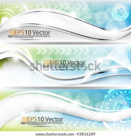eps10 set of abstract futuristic technology banner design background - stock vector