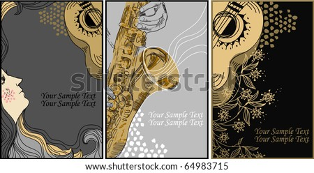 eps10 set of 3 hand drawn cards on the theme music and musical instruments - stock vector