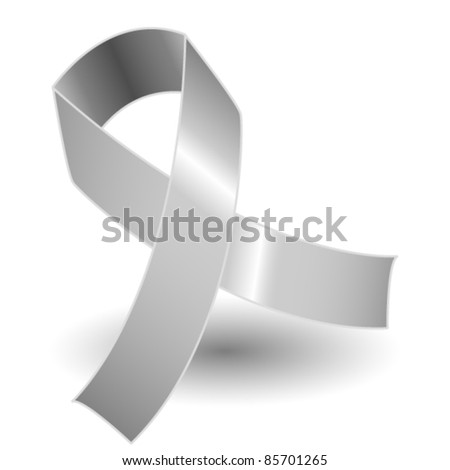 EPS 10: Silver awareness ribbon over a white background with drop shadow, simple and effective.