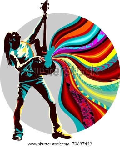 EPS 10, Singer on the multicolor background - stock vector