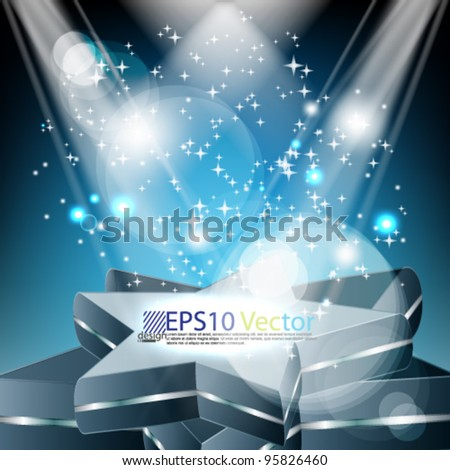 eps10 star stage spotlight with sparkling design - stock vector