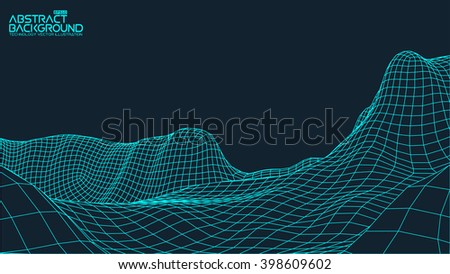 EPS 10 terrain wide angle. Abstract digital vector landscape background. Cyberspace grid. 3d technology vector illustration.