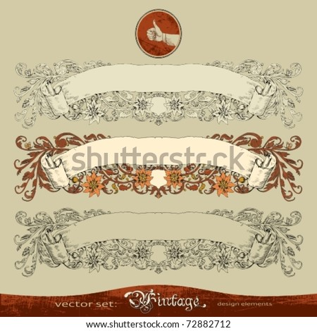EPS10,  three variants of old, ornate banner vector for decoration and design - stock vector