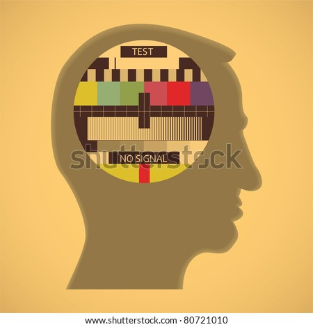 eps10 tv color test in human head - abstract illustration - stock vector