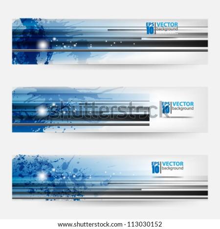 eps10 vector abstract banner set splatter template design - stock vector