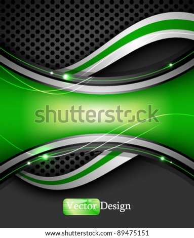 Eps10 Vector Abstract Digital Background with Green Wave Design - stock vector