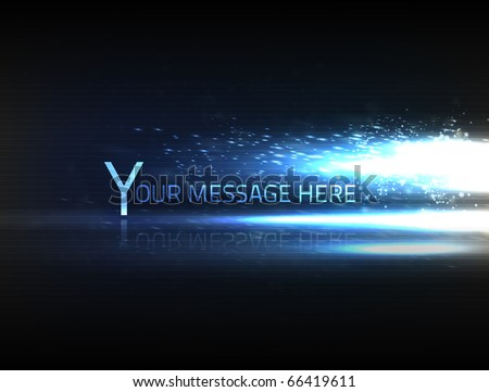 EPS10 vector abstract effect on black background with blurry particles, and bright light shining from the right side. - stock vector