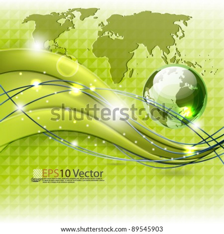 eps10 vector abstract elegant corporate wave and map background design