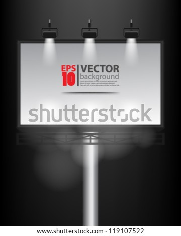 eps10 vector abstract empty billboard with spot light background - stock vector