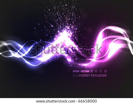 EPS10 vector abstract energy explosion on background with slight texture; composition has bright blurry lights - stock vector