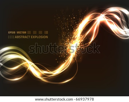 EPS10 vector abstract explosion on dark background; composition has a lot of bright and blurry particles - stock vector