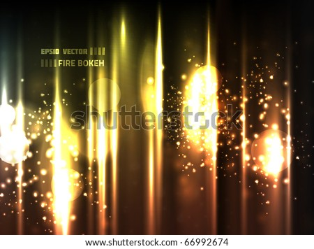 EPS10 vector abstract fire bokeh against bright background; composition is colored in shades of orange, yellow and red with a bit of other colors - stock vector