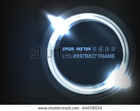 EPS10 vector abstract frame on dark blue background with slight texture. Has bright lights and dim particles. - stock vector