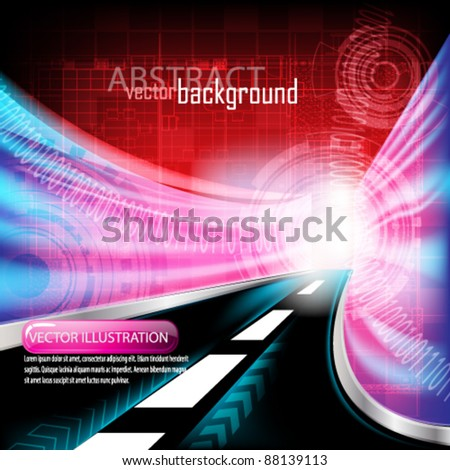 eps10 vector abstract futuristic tunnel highway background design - stock vector