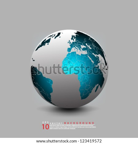Eps10 Vector Abstract Globe Icon  Background design - stock vector