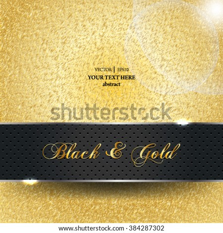 Eps 10 vector abstract gold sparkles elegant background with black monochromatic banner design. - stock vector