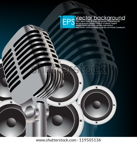 eps10 vector abstract microphone with music background - stock vector