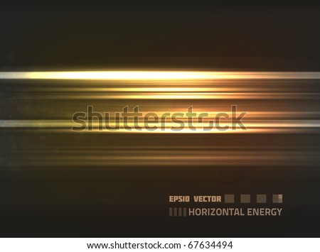 EPS10 vector abstract orange horizontal energy design against dark background; composition is colored in shades of orange and yellow - stock vector