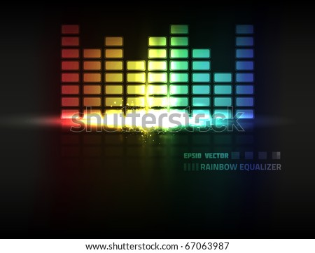 EPS10 vector abstract rainbow colored equalizer design against dark background; composition has bright lights and particles - stock vector