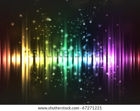 EPS10 vector abstract rainbow equalizer wave design against dark background; composition has bright lights and particles - stock vector